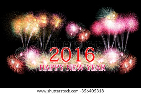 Happy new year 2016 text of colorful fireworks isolated on black background.