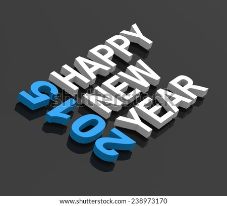 Happy New Year 2015, text on black. Computer generated 3D photo rendering