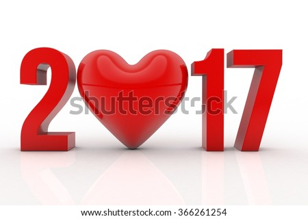 Happy new year 2017 Text with heart