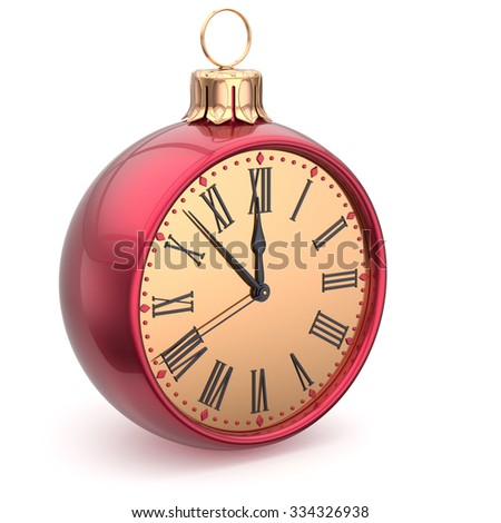 Happy New Year time Christmas ball midnight clock decoration bauble countdown ornament red sparkly. Traditional wintertime holidays beginning future hour symbol adornment. 3d render isolated