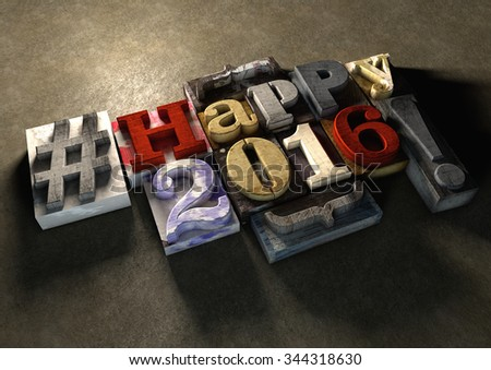 Happy 2016 New Year title in vintage colorful wood block text. Social media hashtag with grunge concrete background. Rough wooden blocks celebration of 2016 New year and the festive season 1 January