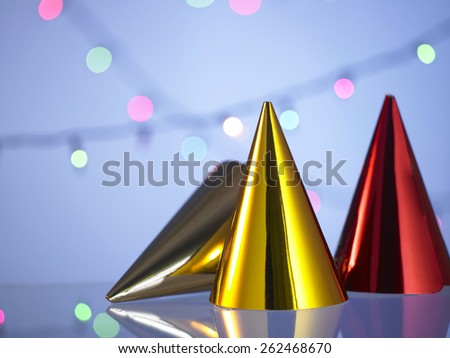 Happy new year top hat with a festive glitter background - stock photo