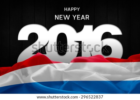 Happy New Year 2016 typography and Luxembourg waving Flag