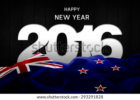 Happy New Year 2016 typography and New Zealand waving Flag - stock photo