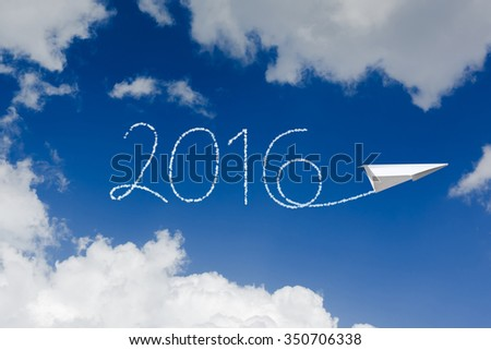 happy new year 2016, white cloud and blue sky on sunny day - stock photo