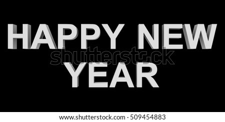 happy new year white 3d letters isolated on black