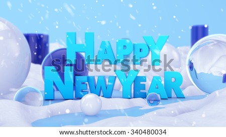 Happy New Year Winter Landscape 3D Scene - stock photo