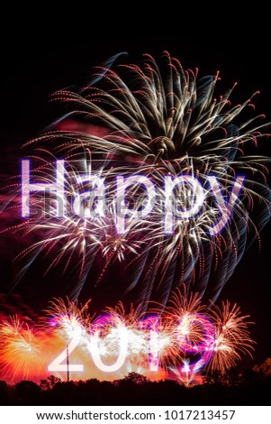 Happy New Year 2019 with colorful sparklers. The words Happy 2019 are integrated into the fireworks on black background with trees at the bottom