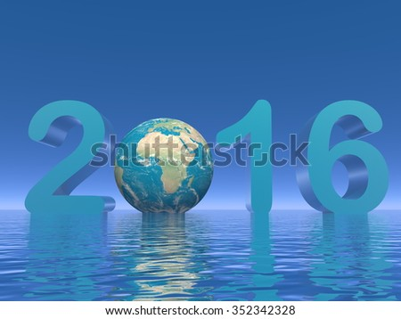 Happy new year 2016 with earth and water in blue background - 3D render - stock photo