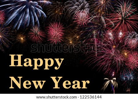 Happy New Year with firework - stock photo