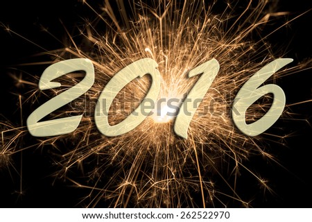 Happy new year 2016 with firework - stock photo