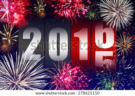 Happy New Year 2016 with fireworks - stock photo