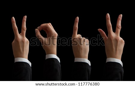 happy new year with hands forming number 2013 - stock photo