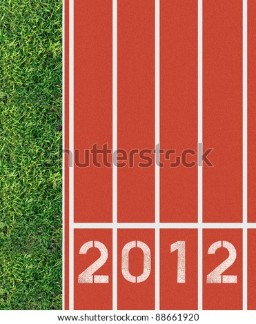 happy new year 2012 with running track - stock photo