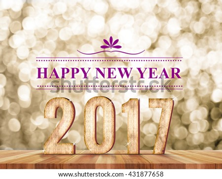 Happy new year 2017 wood number in perspective room with sparkling gold bokeh light and wooden plank floor - stock photo