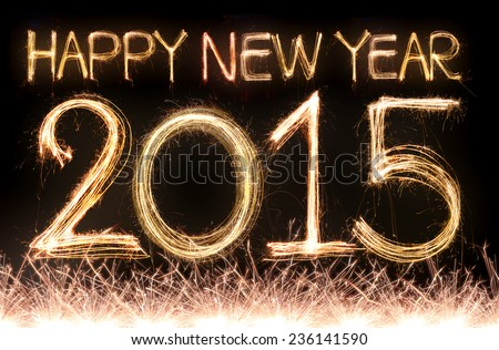 happy new year 2015 word made from sparkler firework light - stock photo