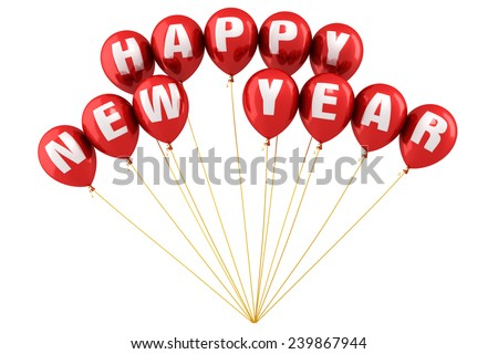 Happy New Year  Writing Red balloons render (isolated on white and clipping path) - stock photo