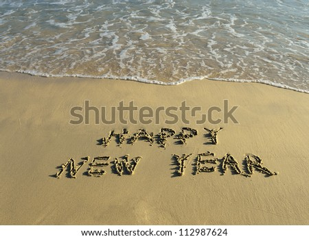 happy new year written in the sand - stock photo