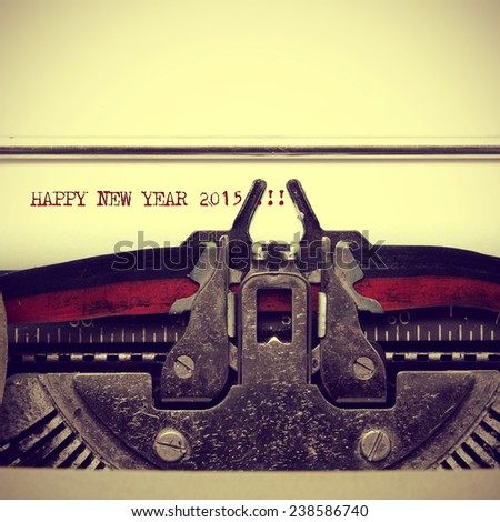 happy new year 2015 written with an old typewriter, with a retro effect - stock photo