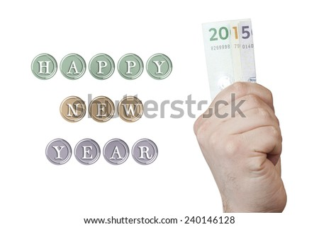 Happy New Year 2015 written with hand hold Danish krone banknotes, isolated on white background  - stock photo