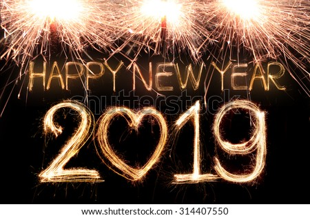 Happy new year 2019 written with Sparkle firework - stock photo