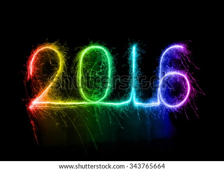 Happy new year 2016 written with Sparkle firework at night - stock photo