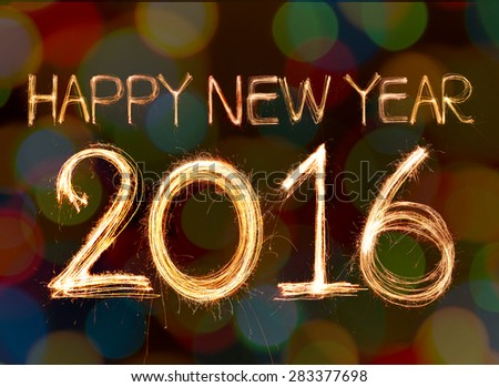 happy new year 2016 written with Sparkling figures. on bokeh background - stock photo
