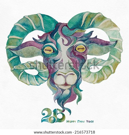 Happy new year 2015. Year of the Goat. Watercolor painting. - stock photo