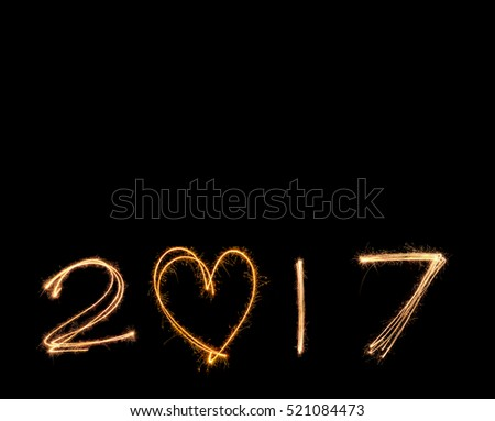 happy new years 2017 fireworks Sparkle alphabet on black background.HAPPY NEW YEAR 2017 concept.
