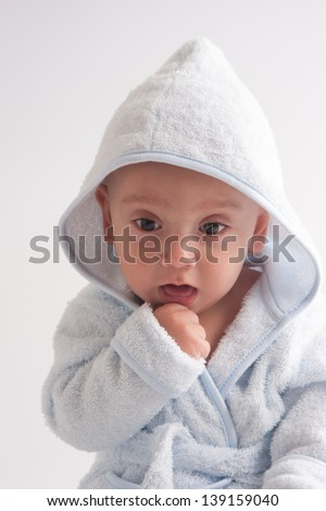 Happy Newborn Child On White Background