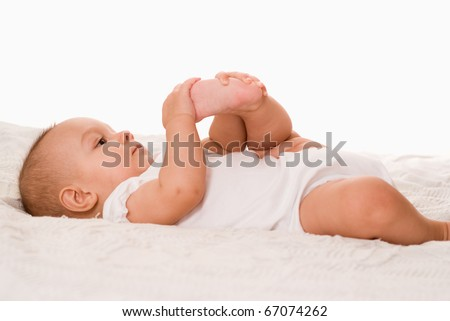 happy newborn on a white background