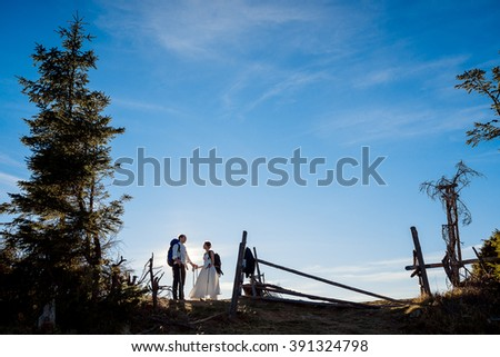 Happy newlyweds walking with mountain equipment on the Alpine countryside - stock photo