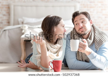 Happy nice couple communicating with each other