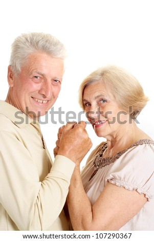 Happy old couple on a white background