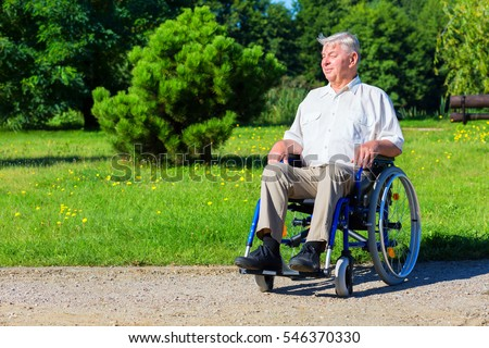 happy old man on wheelchair in the green park - outdoor scene