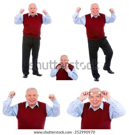 Happy old man senior emotions. Collage, portrait old man, multitasking isolated white background. Face expressions, emotions, perception, body language - stock photo