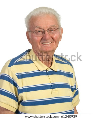 Happy old man smiling. Shot against a white background - stock photo