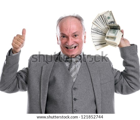 Happy old man with money showing yes sign on a white background