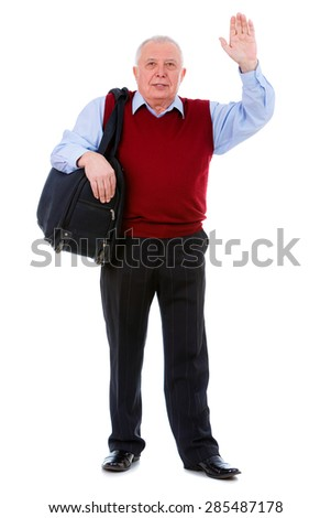 Happy Old senior man holding suitcase on shoulder and waving his hand, isolated on white background. Positive human emotion, facial expression - stock photo