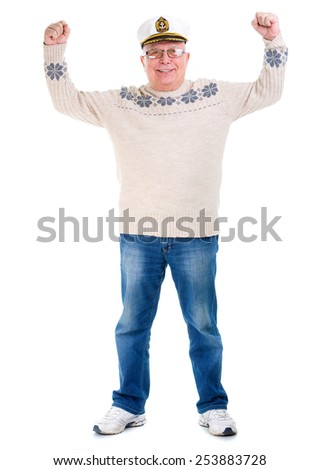Happy old senior man with a smile and white teeth, raised his hands up, boat captain cap, isolated on white background - stock photo