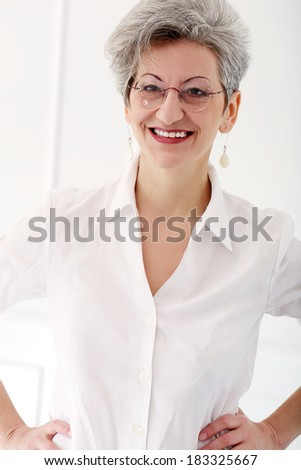 Happy old woman with beautiful smile