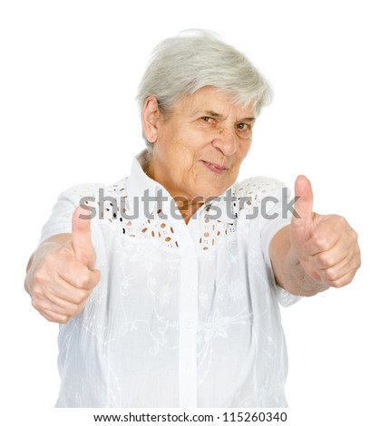 happy old woman with thumbs up. isolated on white background - stock photo