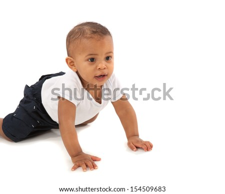 Happy One Year Old African American Baby Boy Crawling on Isolated Background