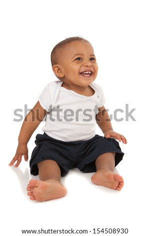 Happy One Year Old African American Baby Boy on Isolated Background - stock photo