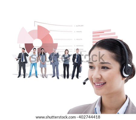 Happy operator posing with a headset against business interface - stock photo