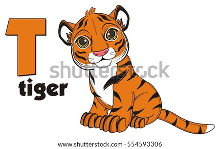 Happy Orange Tiger Sit With Letter T And Word
