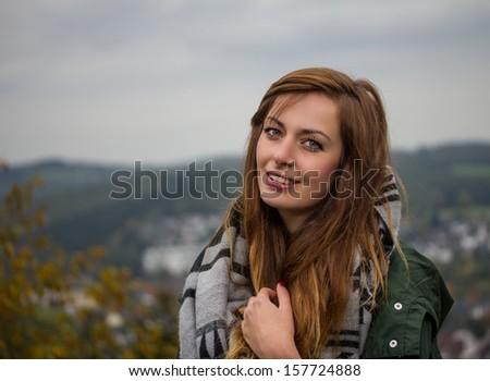 happy outdoor girl - stock photo