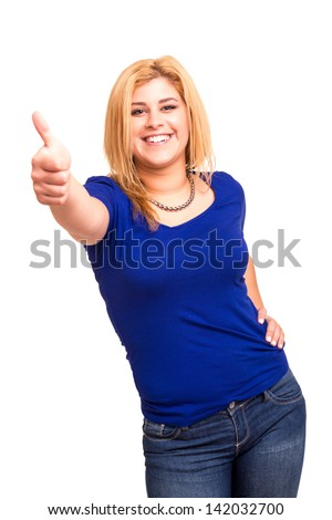 Happy overweighted woman posing isolated over white background