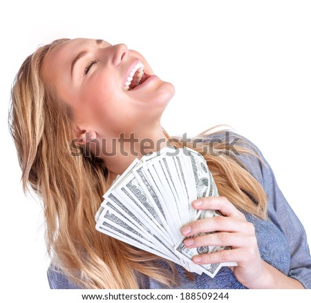 Happy owner of money, pretty woman with money isolated on white background, winner in financial lottery, success conception - stock photo