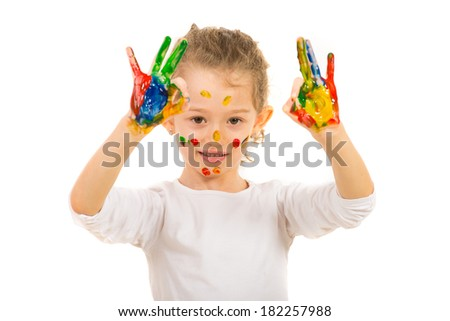 Happy painted girl showing okay sign hands gesture isolated on white background - stock photo